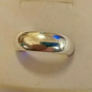 Vintage men's large size sterling silver D section wedding ring size W/X