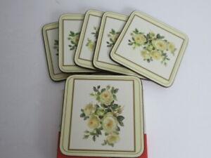 Vintage Pimpernel Coasters English Rose MCM Set Of 6 Cork Back Square NOS w/ Box