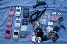 Lot OF 7 Motorola Razor phones Cell Phone For Parts Or Repair + spare parts