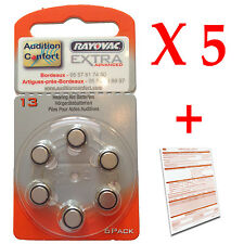 5 plaquettes de 6 piles auditives 13 (orange) RAYOVAC
