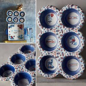Anthropologie Nathalie Lete Bibelot Patisserie Muffin Pan Cupcake Stoneware NEW