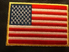 American Flag Patch Iron On Or Sew On Yellow Border Us United States Shoulder