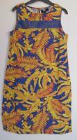 New Next Linen Blend Tropical Palm Print Summer Shift Dress - Size 6 - 26