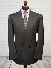 Centaur gris a rayas traje de chaqueta lana mezcla de doble abotonadura 44R