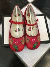 NIB 100% Auth Gucci Kids Embroidered Red Leather Flats 508698