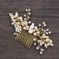 Gold Crystal Pearl Hairpin Flower Hairclip Hair Comb Wedding Bride Party Jewelry
