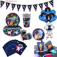 Cartoon Astronaut Space Theme Disposable Tableware Set Birthday Party Supplies