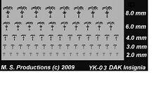 1/100 12mm a 15mm paso + 1/144 a 1/72 calcomanías Dak África Negra Cuerpo yk-03