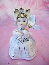 Vintage Lefton Bloomer Tulip Flower Parasol Girl Angel w/ Orig. Tag Figurine EX