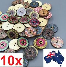10 Pcs Mixed Cute Colorful Flowers Wood Buttons Scrapbooking Sewing Craft 20mm