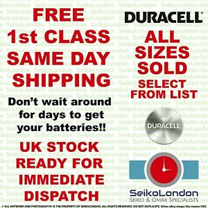 Duracell Silver Oxide Watch Battery 1.55v ALL SIZES OF WATCH BATTERIES - FAST!!