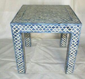 Indian Luxury Mughal Design Bone Inlay Bedside Table Blue
