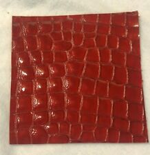 New listing Embossed Leather Red Scrap (1) Size 4 x 4 Square