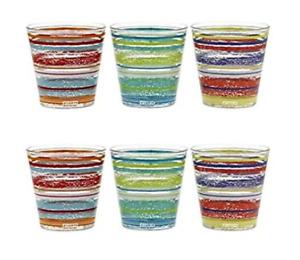 6 Bicchieri Caraibi Cerve Nadia 25 cl Colorati Bicchiere Acqua Vino Bibita Bar