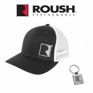 Roush Performance Embroidered R Logo Black White Gray Flexfit Mesh Hat Cap