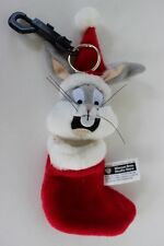 Bugs Bunny Plush Christmas Stocking Key Ring + Plastic Clip Warner Bros NWT