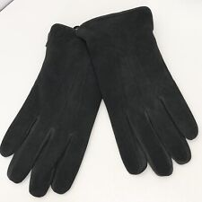Stewart of Scotland Mens Suede Leather Cinched Gloves Fleece Lined Gray Sz M