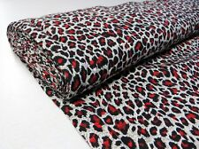 Red LEOPARD STRETCH COTTON FABRIC animal print psychobilly punk rockabilly