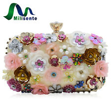 Milisente Floral Dream White DIAMOND Clutch Bag Wedding Bridal Purse Evening Bag