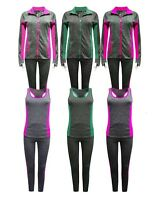 New Women Grey 3Pcs Tracksuit Gym Sports Leggings Top Hoodie + Yoga Pants