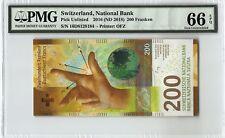 Switzerland 2016 (ND 2018) PMG Gem UNC 66 EPQ 200 Franken *New Issue*