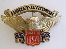 BELT BUCKLE  HARLEY DAVIDSON SOLID BRASS GOLD TONE 1991 H-528 NOS VINTAGE