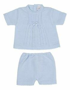 Dandelion Spanish Style Baby Boy Blue White Knitted Cardigan Short and Top Set.