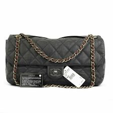 CHANEL In The Mix Burgundy Dark Gray Black Jumbo Quilted Leather Flap Bag