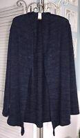 NEW Plus Size 2X Blue Open Cardigan Sweater Hood Knit Jacket Topper