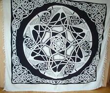 FAIR TRADE Black & White Cotton double bedspread Celtic Knotwork Throw Backdrop