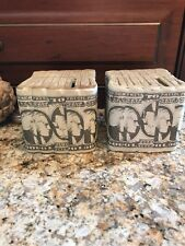 VINTAGE COIN BANKS PAIR POTTERY 10 DOLLAR BILLS