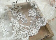 """Ivory Embroidery Bridal Lace Fabric 51"""" Wide Corded Floral Lace Fabric 1/2 Yard"""