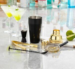 Homiu Black Gold Cocktail Making Kit Boston Shaker Stainless Mixer 5 Pack Gift