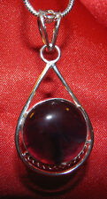Amethyst stone pendant necklace healing jewelry fashionable dk purple mysterious