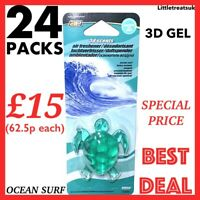 JOBLOT-BOX OF 24 PACKS AUTO EXPRESSIONS 3D TURTLE CAR AIR FRESHENER,OCEAN SURF