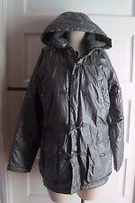 Tommy Girl Hilfiger Hooded Silver Metallic Puffer Toggle Parka Jacket Womens M