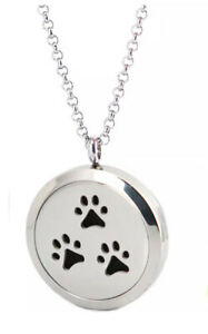 NEW Essential Oil Diffuser Necklace Locket Pendant Pet Dog Cat Paws & 5 Pads