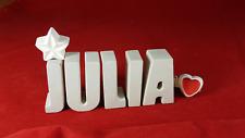 Beton, Steinguss Buchstaben 3D Deko Namen JULIA als Geschenk verpackt!