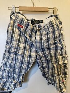 Superdry Men's Cargo Shorts Medium Check White Red & Blue Good Condition
