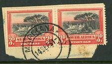 South Africa 1927 3d black & red SG 35 FU on piece
