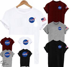 NASA SPACE POCKET SIZE LOGO ASTRONAUT PRINT 2SIDED  AMERICAN FLAG UNISEX T-SHIRT