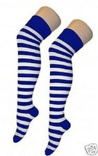 LADIES BLUE WHITE STRIPED OVER KNEE SOCKS FANCY DRESS PARTY SAILOR HEN NIGHT