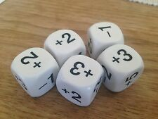 22mm Sum Dice -1 +2 -2 +3 +4 +5 (Set of 5) - Numeracy Maths Resource D046