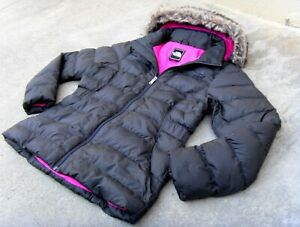 The North Face 550 Fur Hooded Down Coat Jacket Women's Sz Large Charcoal