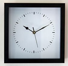 NEW 25cm Modern Black Wall Clock - Wooden Vintage Square Station Kitchen Gift
