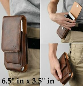 For Motorola Moto E (2020) - Brown Leather Vertical Holster Pouch Belt Clip Case