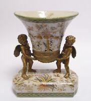 99937873-dss Messing Keramik Tafelaufsatz Jardiniere Putto Historismus H27cm