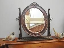 Vintage TABLE Top VANITY Mirror ORNATE Timber LOOK PLastic Made in HONG Kong SA