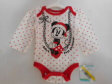 Disney Minnie Mouse My First Christmas Bodysuit Girls Infant Size 0-3 Months NWT