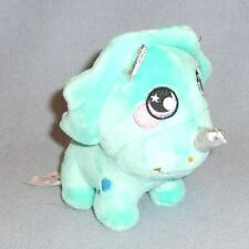 "Squeezamals Triceratops Dinosaur 3.5"" Aqua Soft Plush Toy - Embroidered Details"